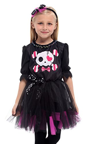 Brcus Kids Girls Skull Halloween Costumes Role Play Cosplay Fancy Dress X-Large(for Height 130-140cm)]()