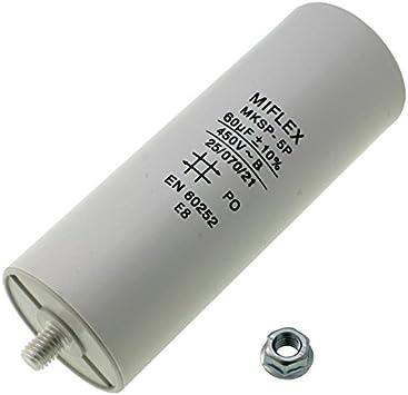Condensador de Arranque de Motor de 60µf, 450V, 50x 119mm, con Conector M8; Miflex; 60uF