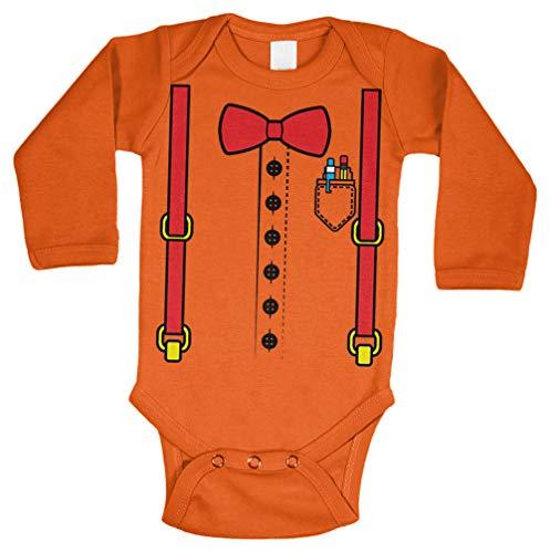 Nerd Costume - Nerdy Smart Student Long Sleeve Bodysuit (Orange, 6 Months)