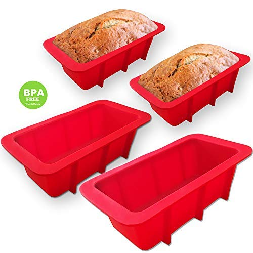 (WALFOS Mini Loaf Pan Set - NON-STICK,FLEXIBLE Silicone Bread Loaf Pan ! JUST POPS OUT! - Food Grade & BPA Free (4 Pieces))