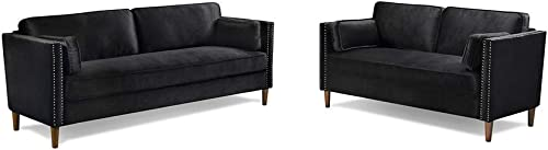 Coofel Sectional Sofa Set for Living Room 2 Piece Modern Velvet Couch Furniture Upholstered Sectional Loveseat for Office, Home Black