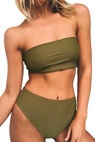 Las Mujeres De Cintura Alta Caliente Tube Top Bikini Sets 2 Pieza Trajes De Baño Trajes De Baño Trajes De Baño Green