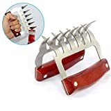 Metal meat claws - Stainless Steel Meat Forks with Wooden Handle- Metal meat claws-Bear Meat Shredder Claws for pulled pork-ease lift, handle, cut meals with Bottle Opener and Meat Cutter (2 Packs)