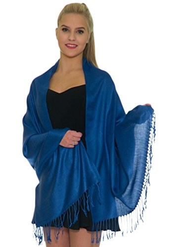 Pashmina Shawls and Wraps - Large Scarfs for Women - Party Bridal Long Fashion Shawl Wrap with Fringe by Petal Rose Light Navy Blue