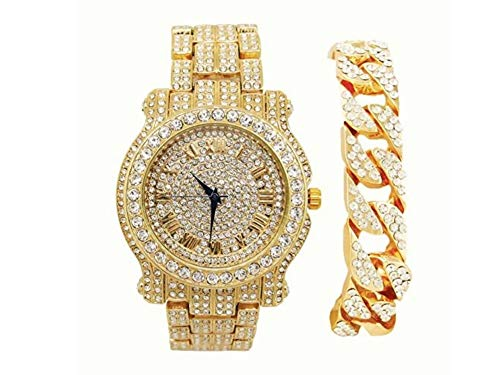 Bling-ed Out Round Luxury Mens Watch w/Bling-ed Out Cuban Bracelet - L0504B - Cuban Gold ()