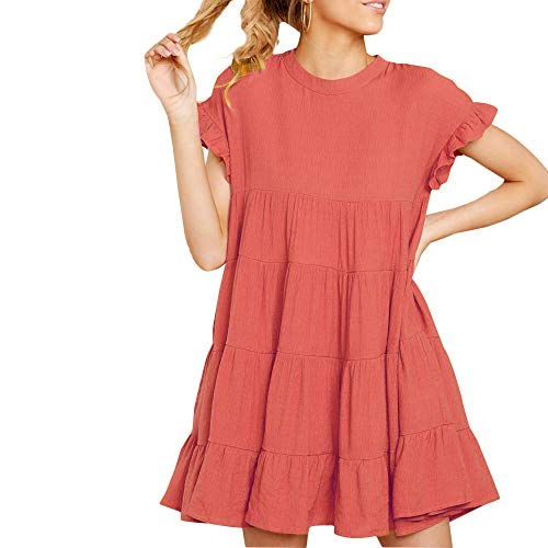- Joteisy Women's O Neck Ruffle Short Sleeve Tiered Casual Mini Dress (L, Watermelon Red)