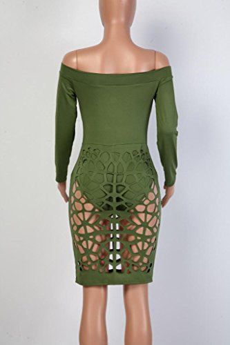 Vestido de las mujeres, Amlaiworld Off hombro delgado vestido de suéter lápiz ejercito verde