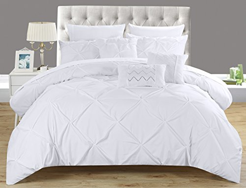 Chic Home Hannah 8 Piece Comforter Set Complete Bed In A Bag Pinch Pleated Ruffled Pintuck Bedding with Sheet Set And Decorative Pillows Shams Included, Twin White (Bedding Twin Sheet Set Complete)