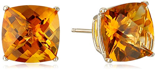 14k Yellow Gold Cushion-Cut Checkerboard Citrine Stud Earrings (8mm)