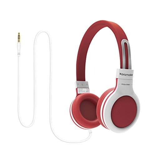 Promate Kids On-Ear Stereo Sports Headphones Soft Cushion Ear Cups With Anti Tangle Flat Cable Adjustable Headband Volume Limiter And Passive Noise Cancellation (Red) ()