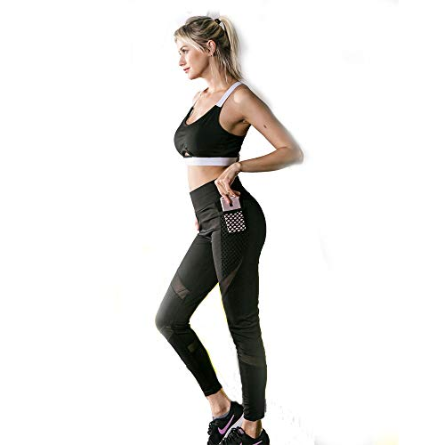 run wide Yoga Pants Leggings with Phone Pocket,High Waist Compression(M) Black