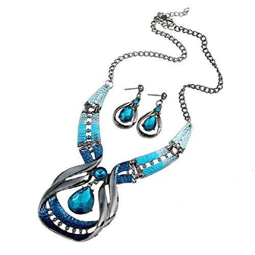 (Islandse Blue Jewelry Sets Purple Enamel Jewelry Statement Necklace and Waterdrop Earring Set Crystal Jewelry Set Fashion)