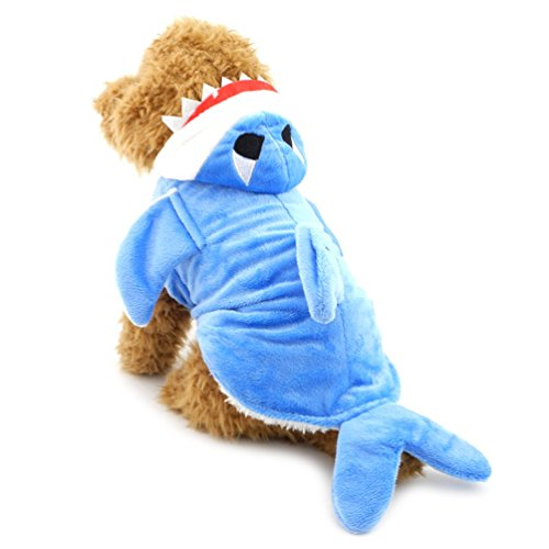 SMALLLEE_LUCKY_STORE XY000055-Blue-XL Small Dog Shark Pajamas Animal Hoodie Costume, Blue, X-Large]()