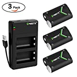 MIBOTE Xbox One Rechargeable Battery Pack 3 x 2400mAh + Dual Charger for Xbox One S/Xbox One X/Xbox One Wireless Controller