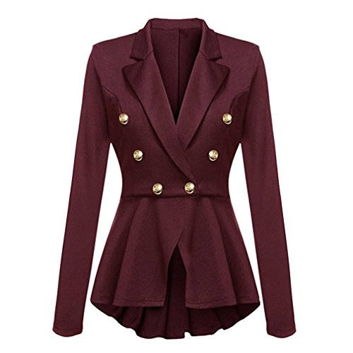 Women Coat, Gillberry Women's Long Sleeve Blazer Ruffles Button Casual Jacket Coat Outwear (Wine red, - Sunglasses Blazer