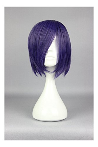 [COSPLAZA Short Dark Purple Anime Cosplay Wig Girl Costume Accessory] (Girl Anime Costumes)