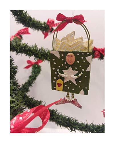 Dept 56 Krinkles Green Gift Bag Christmas Tree Ornament Rare Retired Figure