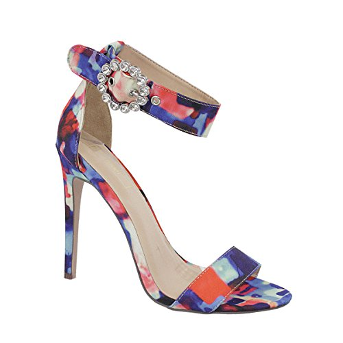 o Pumps High Heels Open Toe Single Band Rhinestone Buckled Ankle Strap Dress Sandals (6.5, Multi Color) (Single Strap High Heel Shoe)