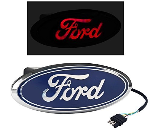 (Rear Tow Hitch Truck Red LED Light Up Blue Ford Oval)