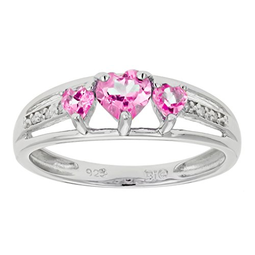 .90 Ct Triple Heart Pink Sapphire and .018 cttw Diamond 10K White Gold Ring Sz 6