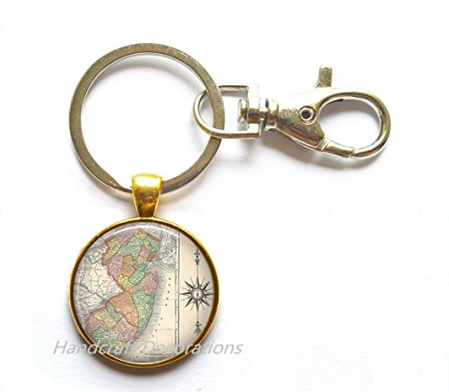 - Charming Keychain New Jersey map Keychain, New Jersey map Key Ring, New Jersey antique map jewelry, map jewellery,A0047