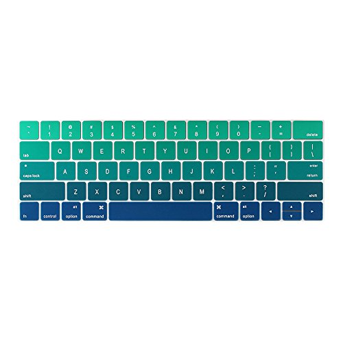 TwoL Ultra Thin Silicone Keyboard Cover Skin for MacBook Pro 13 15 with Touch Bar (Release 2017 & 2016,Model Number A1706, A1707),Gradient Green