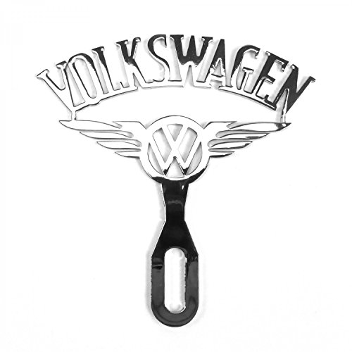 Vintage Parts USA 316010 Vintage Volkswagen VW Chromed License Plate Topper with Wings