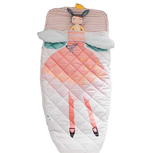 Little Mummy Sleeping Bag - YAYIDAY Sleeping Bag Kids Toddler Nursery 100% Cotton Quilted Slumber Bag Pink Nap Mat Blanket Soft Warm Girl Princess Printed Sleep Sack for Travel Sleepovers