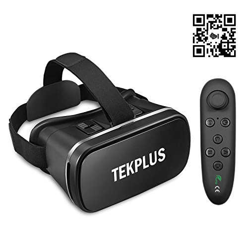 VR Headset, TEKPLUS Virtual Reality Headset with Remote Controller 3D VR Goggles Glasses for 3D Movies Video and Games for 4.0-6.0 Inches IOS Apple iPhone and Android Smart Phones