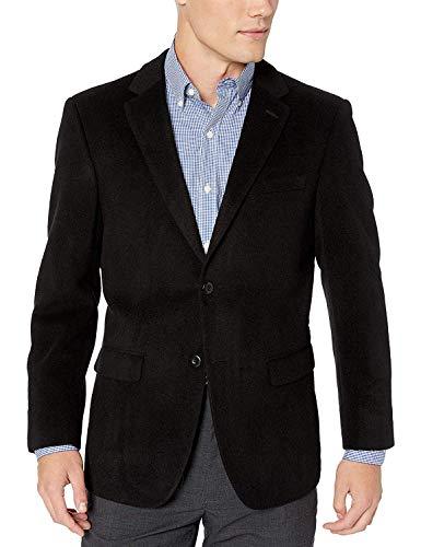 Men's 2 Button Luxury Wool Cashmere Black Sport Coat 48L