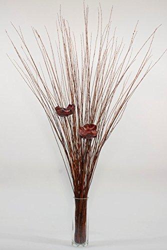 GreenFloralCrafts 4.5 to 5 ft Tall Burnt Oak Asian Willow Bunch of 50 stems, Palm Flower & Tall Grass