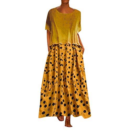 Kulywon Women Vintage O-Neck Dot Print Patchwork O-Neck Two Pieces Loose Maxi Dress Yellow ()