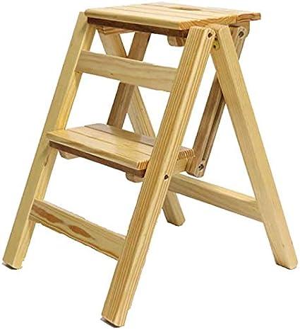 Escalera plegable de 2 peldaños Escalera de peldaño de doble uso Escaleras de tijera plegables Escaleras de madera de pino Escalera Estante de flores Banco de zapatos, 38 46 50 cm (Color: