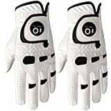 Men's Golf Glove Left Hand Right with Ball Marker Value 2 Pack, Weathersof Grip Soft Comfortable, Fit Size Small Medium ML Large XL, By Finger Ten
