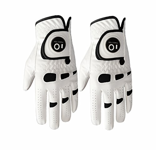 FINGER TEN Men's Golf Glove Left Hand Right with Ball Marker Value 2 Pack, Weathersof Grip Soft Comfortable, Fit Size Small Medium ML Large XL (Large, Worn on Left Hand)