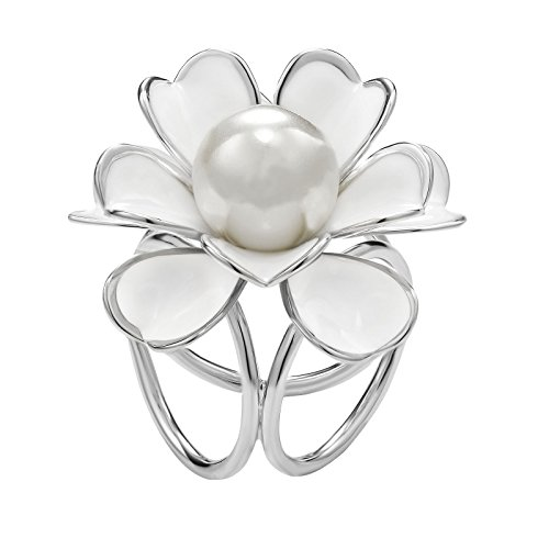 OKAJEWELRY Scarf Ring Simulated Pearl Camellia Flower Silk Scarf Ring Scarves Accessories Jewelry (Silver)