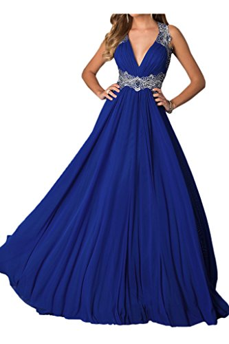 Abendkleid Blau Ausschnitt Spitze Chiffon Ivydressing Lang Rueckenfrei Damen Sexy Festkleid V Promkleid Applikation OwO7F1x
