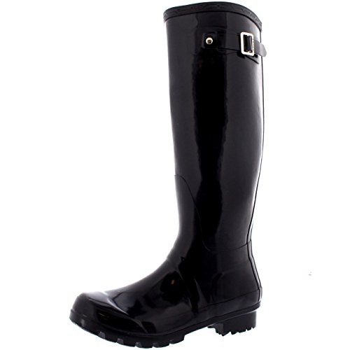 Womens Originele Tall Gloss Winter Waterproof Wellies Rain Wellington Boots Dark Purple