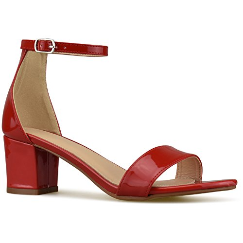 Premier Standard Women's Strappy Chunky Block Low Heel - Formal, Wedding, Party Simple Classic Pump, TPS Heels-Naej Red Pat Size 7 (Heel Red Low)