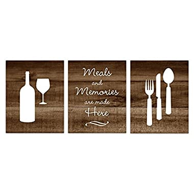 UNFRAMED PRINTS (CHOOSE YOUR SIZES) - Brown Wood Effect Photo Kitchen Art, Fork and Spoon Wall Decor, Wine Glass Art - HOME148