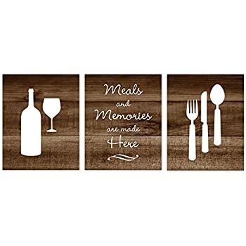 Brown Rustic Photo Kitchen Art, Fork And Spoon Wall Decor, Wine Glass Art