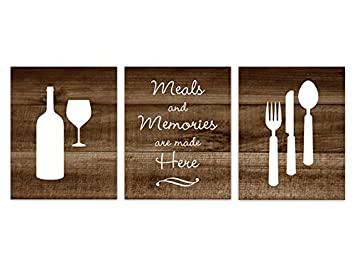 Brown Rustic Photo Kitchen Art, Fork and Spoon Wall Decor, Wine Glass Art -  HOME148