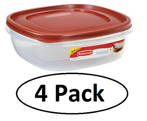 - Rubbermaid 7J71 Easy Find Lid Square Food Storage Container, 9-Cup, Red (Pack of 4)