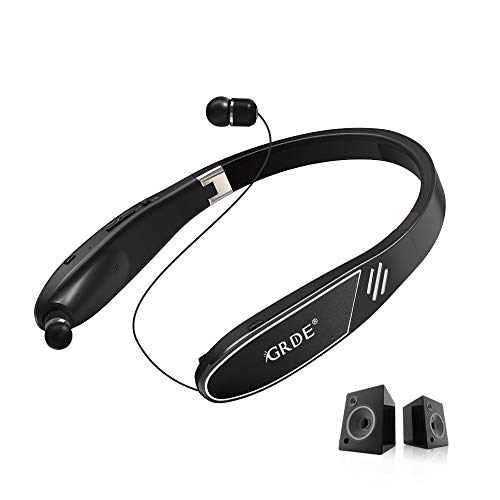 Bluetooth Headphones Speaker 2 in 1, GRDE Neckband Wireless Bluetooth Headset -[28 Hrs Playtime]True 3D Stereo Sound Wearable Speaker with Foldable Retractable Earbuds Sweatproof Earphones for Android