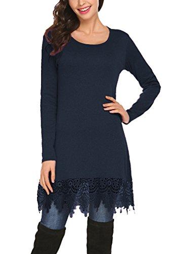 Crochet Trim Tunic (Qearal Women's Summer Crochet Lace Long Sleeve Loose Tunic Top XXL Blue)