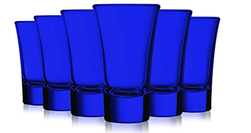 Cobalt Blue Colored Evase Cordial Glasses - 2 oz. set of 6- Additional Vibrant Colors Available