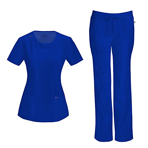 - Infinity by Cherokee Womens 2624A Round Neck Top with badge loop & 1123A Straight Leg Low Rise Comfort Pant Medical Uniform Scrub Set Top & Pants (Galaxy Blue - Small)