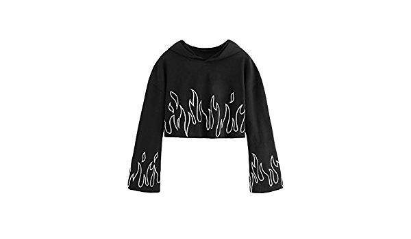 Printed Crop Hoodie Top Campfires flannel /& Hot cocoa | Graphic Print