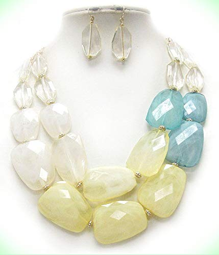 CHUNKY Multi Acrylic Stone Pale Yellow And Light Blue Double Necklace For Women Set