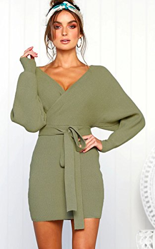 Angashion Batwing Bodycon Backless Long Women's Green V Sleeves Belt Neck Sexy with Dress aqarZw